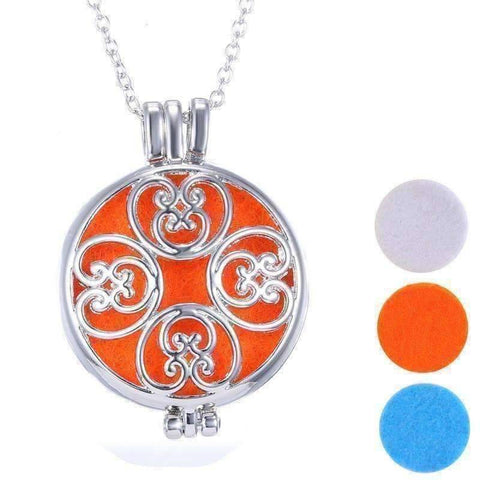 Feshionn IOBI Necklaces Platinum Plated Large Round Filigree Aromatherapy Scent Diffuser Locket Necklace