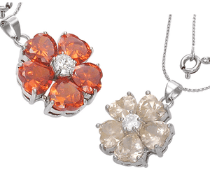 "Feshionn IOBI Necklaces Poppy ON SALE - ""Buttercup"" Cubic Zirconia Flower Pendant Necklace"