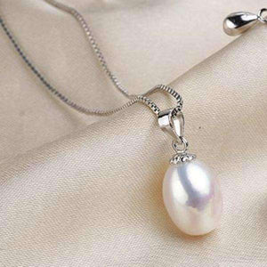 Feshionn IOBI Necklaces Pure White Genuine Freshwater Pearl Drop Necklace