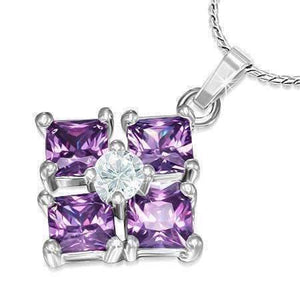 "Feshionn IOBI Necklaces Purple ON SALE - ""Reflection"" Cubic Zirconia Square Pendant Necklace - Available in Two Colors"