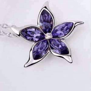 Feshionn IOBI Necklaces Purple Starfish Flower Jewel IOBI Crystals Necklace - Choose Your Color