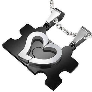 Feshionn IOBI Necklaces Puzzle Heart Pendant Necklace Set in Black and Stainless Steel for Men or Women