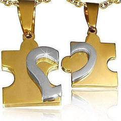 Feshionn IOBI Necklaces Puzzle Heart Pendants Necklace Set in Gold and Stainless Steel for Men or Women
