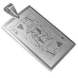 Feshionn IOBI Necklaces Queen of Hearts Casino Poker Playing Cards Stainless Steel Pendant Necklace ~ Your Choice