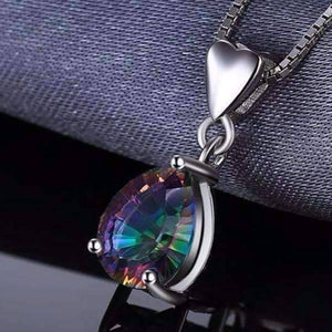 Feshionn IOBI Necklaces Rainbow Fire Genuine Mystic Topaz Pear Cut 2CT IOBI Precious Gems Pendant