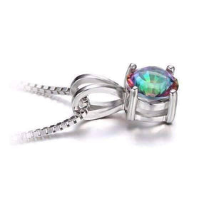 Feshionn IOBI Necklaces Rainbow Fire Genuine Mystic Topaz Round Cut 1CT IOBI Precious Gems Pendant Necklace
