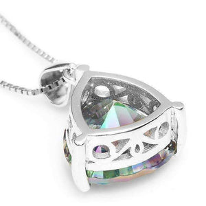 Feshionn IOBI Necklaces Rainbow Fire Genuine Mystic Topaz Trillion Cut 4CT IOBI Precious Gems Pendant Necklace