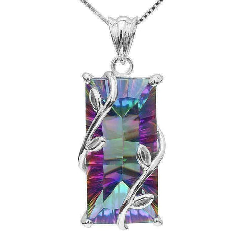 Feshionn IOBI Necklaces Rainbow Fire Mystic Emerald Cut Pendant Fantasy Rainbow Fire Genuine Mystic 16CT Emerald Cut IOBI Precious Gems Pendant Necklace