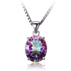 Feshionn IOBI Necklaces Rainbow Oval Pendant Genuine Rainbow Fire Mystic Topaz Oval Cut 4CT IOBI Precious Gems Pendant Necklace