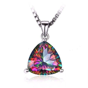 Feshionn IOBI Necklaces Rainbow Pendant Rainbow Fire Genuine Mystic Topaz Trillion Cut 4CT IOBI Precious Gems Pendant Necklace