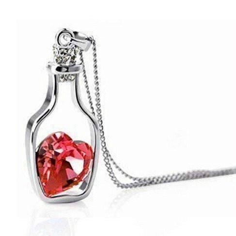 ON SALE - Bottled Up Love IOBI Crystals Necklace in Lovers Red