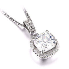 Reina 3CT Cushion Cut Halo CZ Pendant Necklace