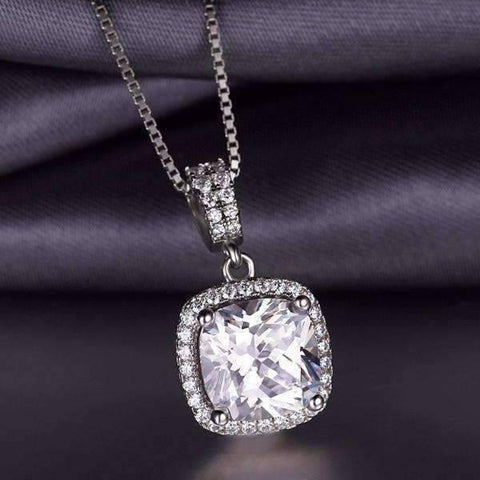 Feshionn IOBI Necklaces Reina 3CT Cushion Cut Halo CZ Pendant Necklace
