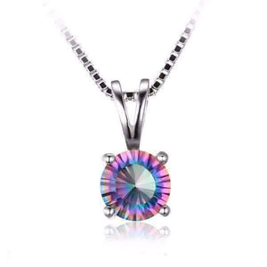 Feshionn IOBI Necklaces Round Pendant Rainbow Fire Genuine Mystic Topaz Round Cut 1CT IOBI Precious Gems Pendant Necklace