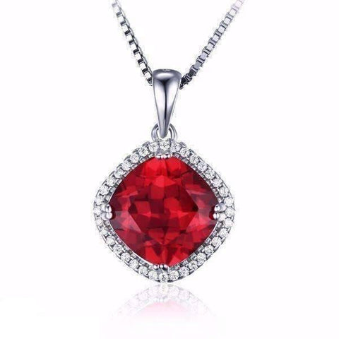 Feshionn IOBI Necklaces Rubellite Pendant Passion Rubellite Cushion Cut 6.8CTW IOBI Precious Gems Halo Pendant Necklace