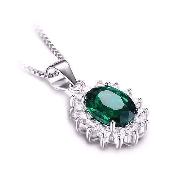 Feshionn IOBI Necklaces Russian Emerald Pendant Russian Halo Oval Cut 2.5CT Nano Simulated Emerald IOBI Precious Gems Pendant Necklace