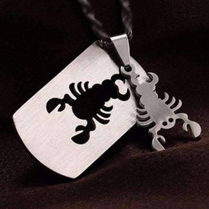 Feshionn IOBI Necklaces Scorpio 2 Piece Cut-Out Dog Tag Pendant Stainless Steel Necklace