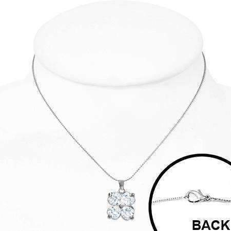 "Feshionn IOBI Necklaces ""Shamrock"" Cubic Zirconia Four Leaf Clover Pendant Necklace"