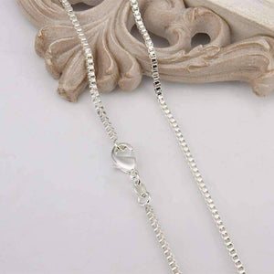 Feshionn IOBI Necklaces Silky Silver Box Link Chain Necklace 18, 20 or 22 inches