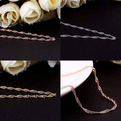 Feshionn IOBI Necklaces Silver 18 inch Fine Singapore Link Chain Necklace in Three Colors
