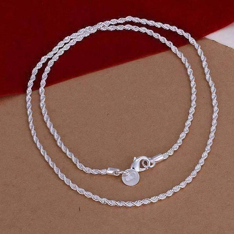 Feshionn IOBI Necklaces Silver / 18 ON SALE - Diamond Cut Rope Chain Silver Necklace 18, 20, 22 or 24 inches