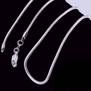 Feshionn IOBI Necklaces Silver / 20 inch Silky Smooth Sterling Silver Snake Chain Necklace 20 or 22 inches