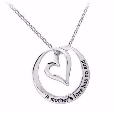 "Feshionn IOBI Necklaces Silver ""A Mother's Love Has No End"" Inspirational Stamped Heart Necklace"