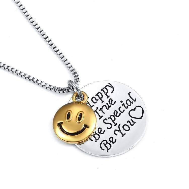 Be happy be true smiley face inspirational charm necklace feshionn iobi necklaces silver be happy be true smiley face inspirational aloadofball Image collections