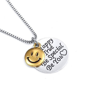 "Feshionn IOBI Necklaces Silver ""Be Happy Be True..."" Smiley Face Inspirational Charm Necklace"