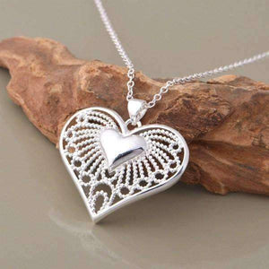 Feshionn IOBI Necklaces Silver Bursting With Love Filigree Heart Necklace