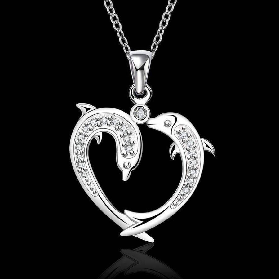 Feshionn IOBI Necklaces Silver Dolphin Love Heart Necklace