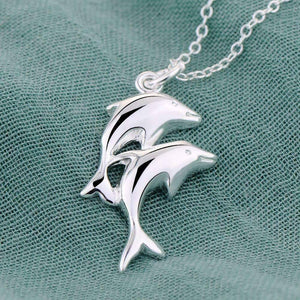 Feshionn IOBI Necklaces Silver Double Dolphin Sterling Silver Necklace