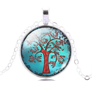 Feshionn IOBI Necklaces Silver Glass Cabochon Medallion Necklace - Red Tree