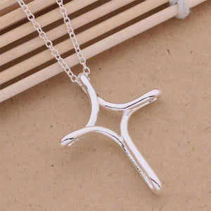 Feshionn IOBI Necklaces Silver Large Eternity Cross Pendant Sterling Silver Necklace