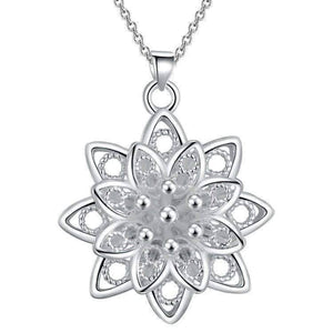 Feshionn IOBI Necklaces Silver Large Sacred Lotus Flower Silver Necklace
