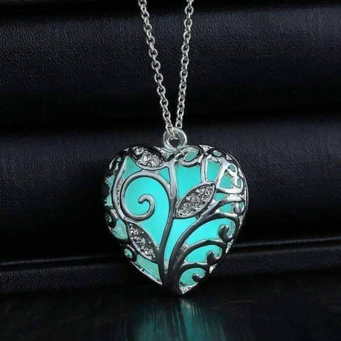 Feshionn IOBI Necklaces Silver Lustrous Heart Glow in The Dark Pendant Necklace