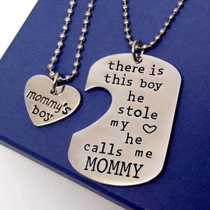 Feshionn IOBI Necklaces Silver Mommy & Son Inspirational Heart Charm Dog Tag Necklace Set