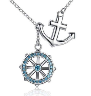 Feshionn IOBI Necklaces Silver Nautical Adventure Blue Topaz Sterling Silver Lariat Necklace