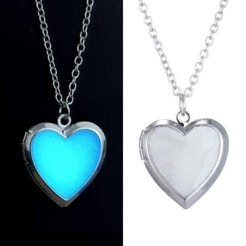 Feshionn IOBI Necklaces Silver ON SALE - Beaming Heart Glow in The Dark Locket Necklace