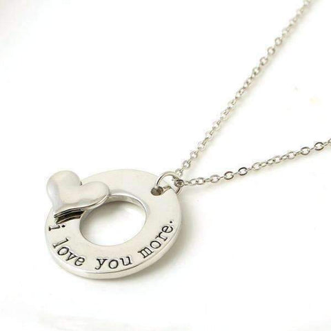 "Feshionn IOBI Necklaces Silver ON SALE - ""I Love You More"" 3D Heart Stamped Charm Necklace"