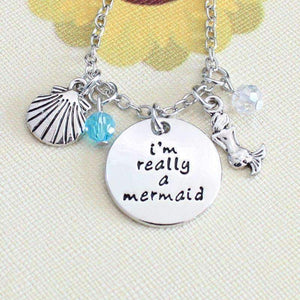 "Feshionn IOBI Necklaces Silver ON SALE - ""I'm Really A Mermaid"" Stamped Pendant & Sea Charm Necklace"