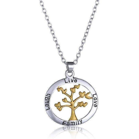 Feshionn IOBI Necklaces Silver ON SALE - Live Love Laugh Family Tree Necklace