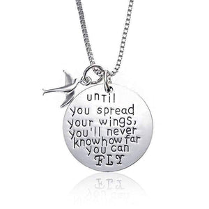 "Feshionn IOBI Necklaces Silver ON SALE - ""Until You Spread Your Wings, You'll Never Know How Far You Can FLY"" Inspirational Charm Necklace"