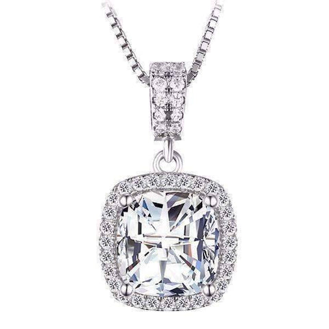 Feshionn IOBI Necklaces Silver Reina 3CT Cushion Cut Halo CZ Pendant Necklace