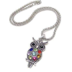 Feshionn IOBI Necklaces Silver Retro Owl Crystal Necklace