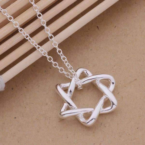 Feshionn IOBI Necklaces Silver Soft Curves Star of David Sterling Silver Necklace