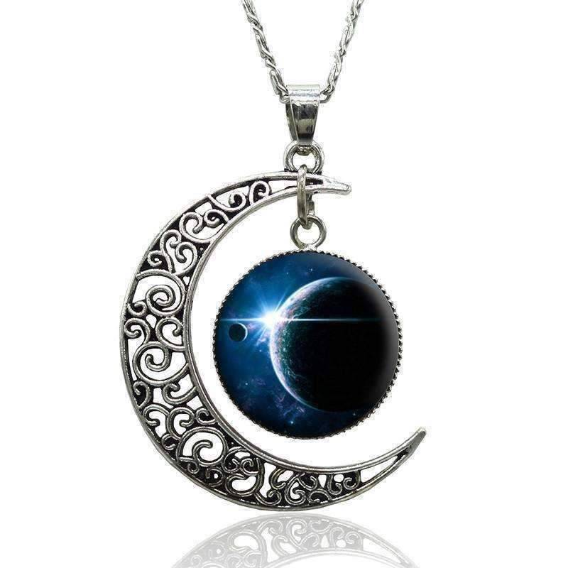 Feshionn IOBI Necklaces Silver Spellbound Silver Crescent Moon and Cabuchon Medallion Necklace