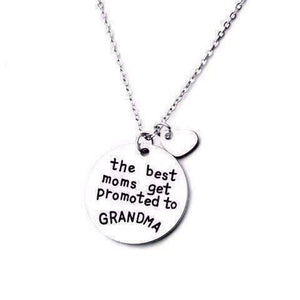 "Feshionn IOBI Necklaces Silver ""The Best Moms Get Promoted to Grandma"" Inspirational Stamped Charm Necklace"