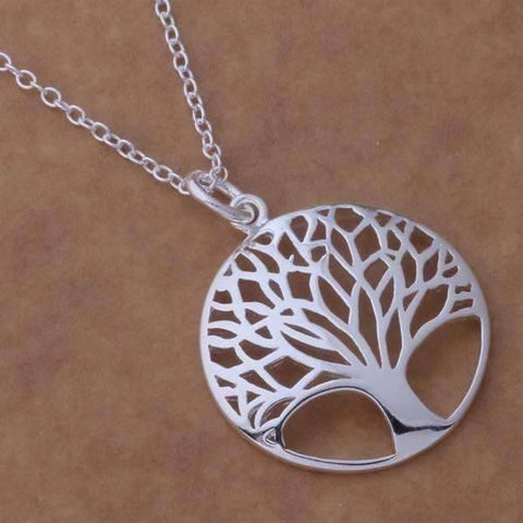 Feshionn IOBI Necklaces Silver Tree of Life Silver Medallion Necklace