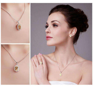 Feshionn IOBI Necklaces Spanish Gold Halo 2.5CT Genuine Citrine IOBI Precious Gems Pendant Necklace